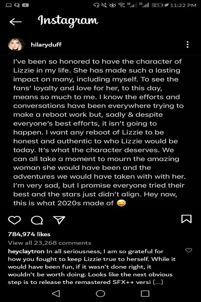 Hilary Duff says that the Lizzie McGuire Disney Plus program is dead and gone.