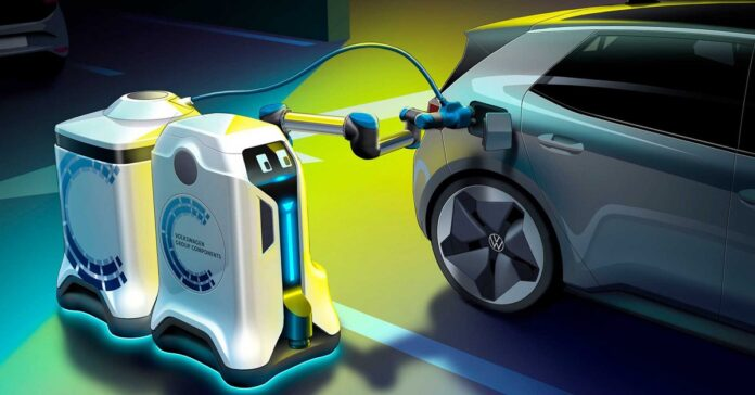 Volkswagen has teased a car-charging robot that has eyes and is completely electric.